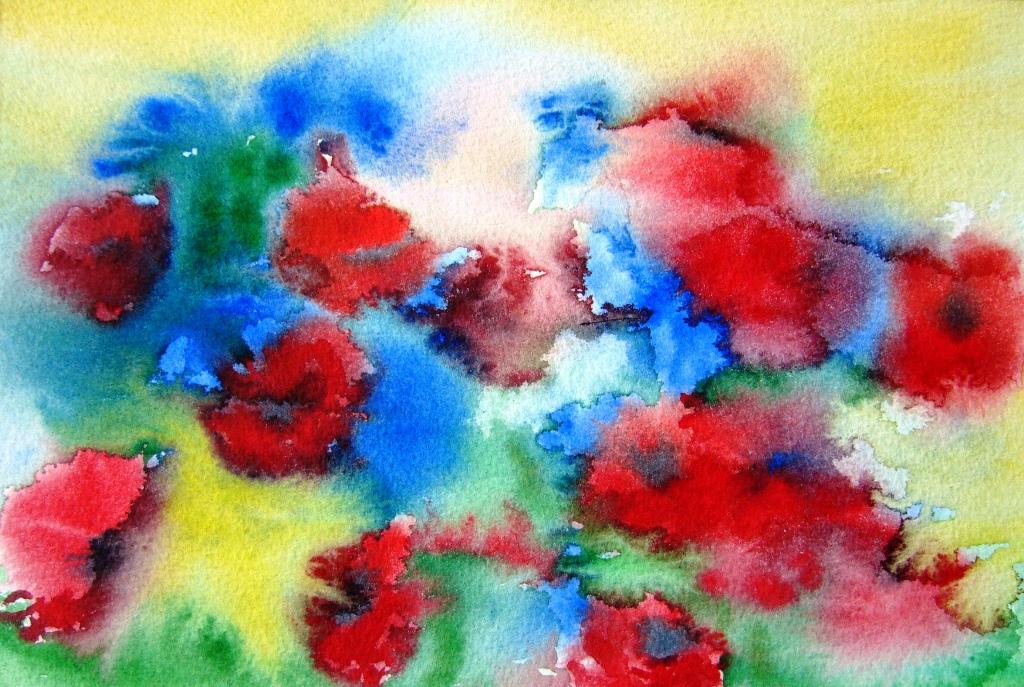 Farbprobe zu Mohn und Kornblumen